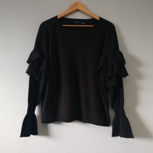 Mustard Seed Medium Black Knit Ruffle Sweater